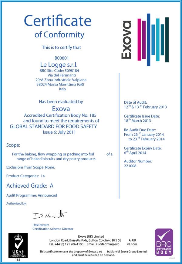 Certificate BRC